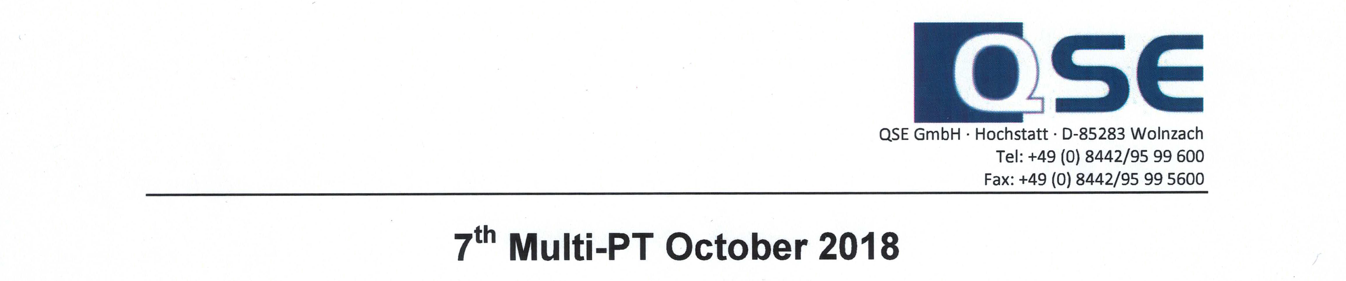 Successful participation in the 7th Multi-PT October 2018 Proficiency testing of QSE GmbH, Germany